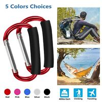 2 Pcs Large D Shape Carabiner with Grip Outdoor Camping Handhold Clip Hook