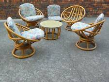 70s set of four round cane tub chairs and matching table