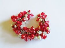 Whites and RED Handcrafted VINTAGE Bead CHARM Bracelet - CHA CHA Style - OOAK