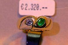 Ring 750/- Gelb+ Weißgold mit 1 Smaragd, oval + 1 Brillant 0.14ct., W-56 1/2.