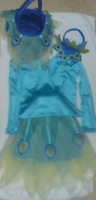 7-8 POTTERY BARN KIDS PEACOCK TUTU HALLOWEEN COSTUME/TREAT BAG 4 PIECE SET EUC
