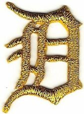 "1 1/8"" Fancy Metallic Gold Old English Alphabet Letter D Embroidered Patch"