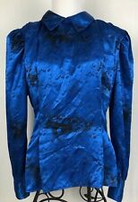 Tess Blouse High Collar Button Down Back Royal Blue Sz 10 Satin Floral Western