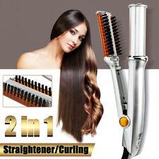 Pro Hair Straightener Curling Curler Ionic Styler Ceramic Hot Brush Flat 2 IN 1