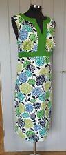 Boden Green white floral midi dress size 18L tall WH349 pure cotton shift BNWOT