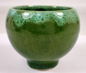 "MINT 2.5"" Vtg McCoy Drip Blue Green Glazed Pedestal Ball RETRO Pottery Pot Vase"