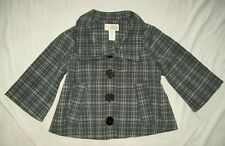 GUESS Grey Plaid 3/4 Sleeve Poncho Style Dress Jacket USA Size Medium CUTE