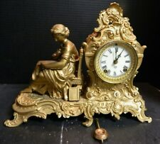 "Antique Ansonia Figural Woman Reading Metal Mantle Clock 11.25"" x 14.75 x 6"" Exc"