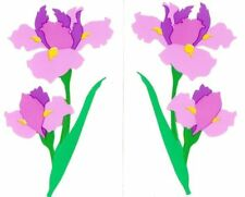 ~ Retired NLA Iris Flowers Garden Blossom Purple Yellow Mrs Grossman Stickers ~