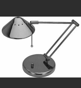 V-Light Halogen Desk Lamp Metal Brushed Nickel 50w Adjustable Arm and Shade