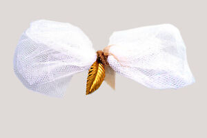 HANDMADE Pretty and Elegant White Tulle and Charm Pet Bowtie for Wedding or Fun
