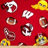 University of Wisconsin Badgers Fleece Fabric Emoji Design-Fleece Blanket Fabric