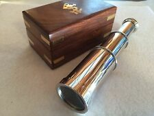 "6"" Brass Telescope w/ Box ~ Chrome Finish ~ Nautical Spyglass Maritime"