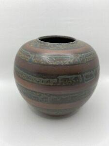 Burgundy Green Blue Glazed Striped Pottery Round Bulbous Bud Vase