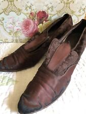 Antique Vintage Brown Silk Shoes Ladies Heels