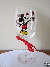 Hand Painted Wine Glass Mickey Mouse with a Rose and Hearts 12 oz.