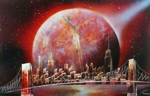 "Original Spray Paint Art - New York City Night Skyline - Signed 14"" x 22"" New"