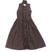 Kate Spade New York Brown Dress Womens Size 0 Eyelet Lace Sleeveless Ruffles