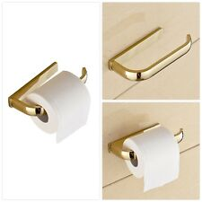 Half Open Toilet Tissue Roll Paper Rail Holder Wall Mounted Brass Gold Finish