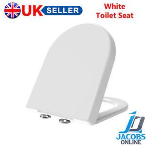TOILET SEAT SOFT WHITE D-SHAPE  BATHROOM HEAVY DUTY LUXURY EASY FIXING HINGES