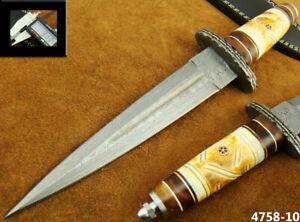 HANDMADE DAMASCUS STEEL KNIFE DOUBLE EDGE SWISS DAGGER HUNTING KNIFE 4758-10