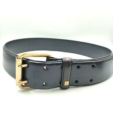 Lauren Ralph Lauren Navy Blue Leather Belt Gold Hardware Wid Sz Small