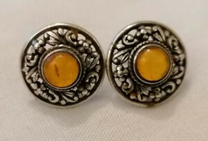 Sterling Silver Amber Style Earrings leaves and scrolls vintage style
