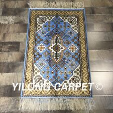 Yilong 2'x3' Small Blue Hand Knotted Silk Area Carpet Handmade Turkish Rugs 252C