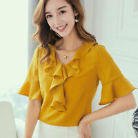 Chiffon Short Sleeve Blouse Loose Fashion Summer Ladies Top Shirt Women T-Shirt