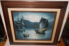 LEE SMALL OIL ON BOARD SEASCAPE CHINESE BOATS PAINTING