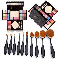 Pro Makeup Set Box Eyeshadow Blush Lip Gloss Palette 10Pcs Oval Cometic Brushes