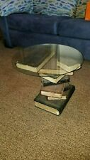 Beautiful Stack of Books End Table w/ Glass Top