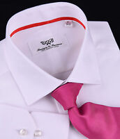 Mens White Formal Business Dress Shirt Luxury Designer Fashion Boss Wrinkle Free