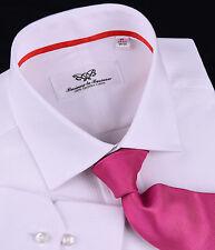 Mens White Formal Business Dress Shirt Luxury Designer Fashion Boss Wrinkle Free