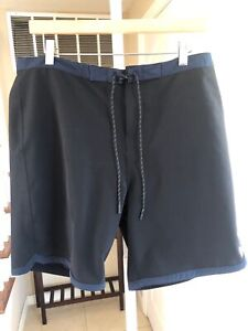 Outerknown Boardshorts Shorts Black Blue Trim Recycled Stretch Fabric Pocket 34