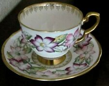 Vintage Royal Stafford China Cup And Saucer, Pattern Clematis England