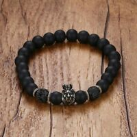 Fashion Men Bracelet Alloy Beaded Bangle Crown Lion Head Black Lava Stone