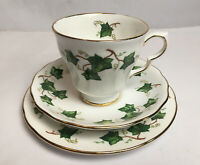 Colclough China Trio of Cup Saucer And Side Plate Ivy Leaf Bone China England