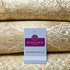 Cream Gold Indian Banarsi Brocade Faux Silk Waistcoat Fabric 110 cm M1274