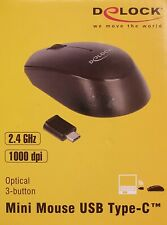 Delock Mini Maus Mouse optisch 2,4GHz 3 Tasten + Scrollrad 1000dpi USB Typ-C OVP