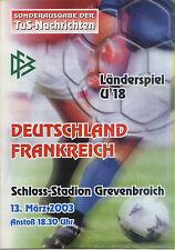 U 18 - Länderspiel 13.03.2003 Deutschland - Frankreich in Grevenbroich