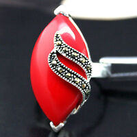 RARE RED CORAL GEMSTONE MARCASITE 925 SILVER RING SIZE 7/8/9/10