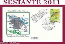 SAN MARINO, FDC ROMA , 11/9/1985  CAMPIONATI MONDIALI DI PESCA  (6)