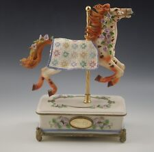 San Francisco Music Box Carousel Quilted Ponies Harvest Star Horse Ltd.Ed