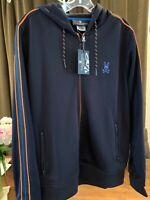 NWT $150 Psycho Bunny Men's Baker Hoodie Jacket Medium Navy Full Zip Fluorescent