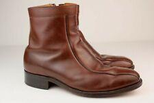 Vintage Mens Stafford Comfort Plus Brown Leather Zip Beatle Boots 80s 9 EEE USA