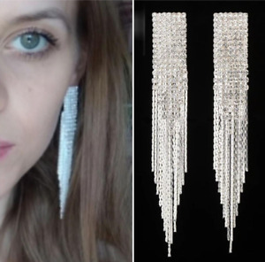 Classic Exaggerated Full Crystal Long Drop Statement Tassel Chain Earrings
