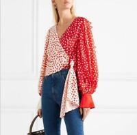 Womens Polka Dot Printed Shirt Long Lantern Sleeve V-neck Strap Short Blouse Top
