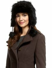 Marks & Spencer Collection Faux Fur Trapper Hat / Pom Pom Tie Cord Size S/M NEW