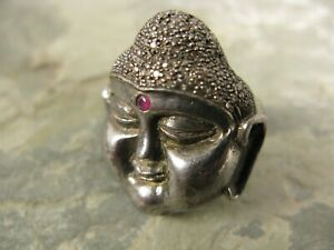 Diamond Pave 14k Gold and Sterling Silver Large Buddha Ring with Ruby Size 7